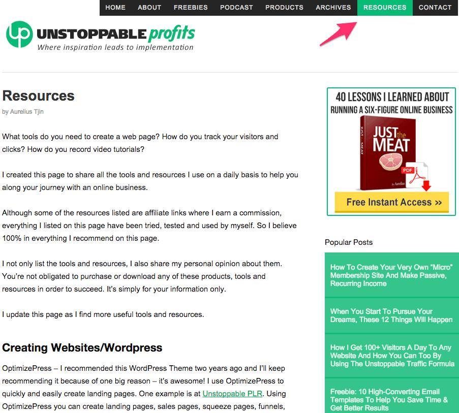 Resources' page
