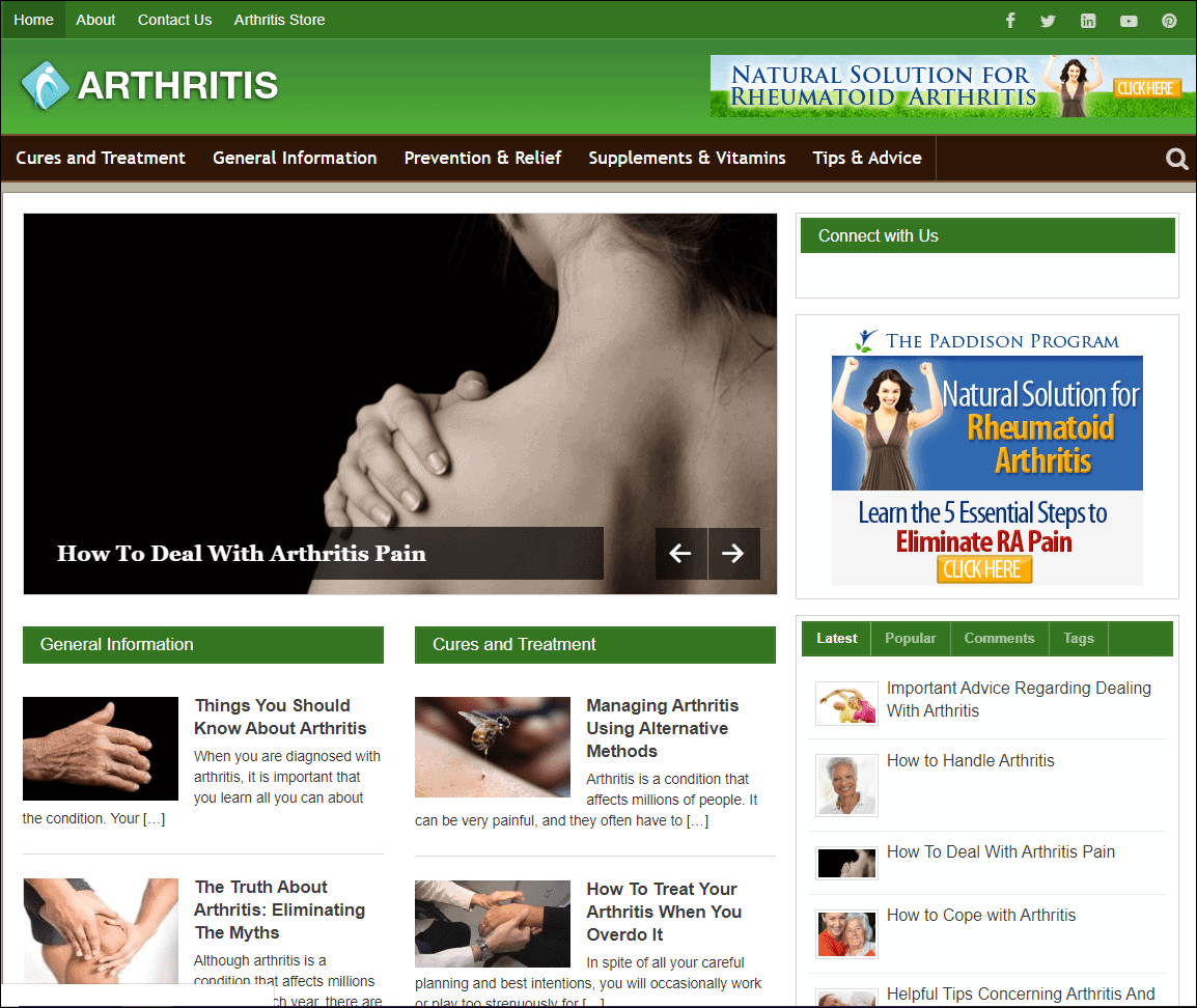 Arthritis Wordpress PLR Niche Site