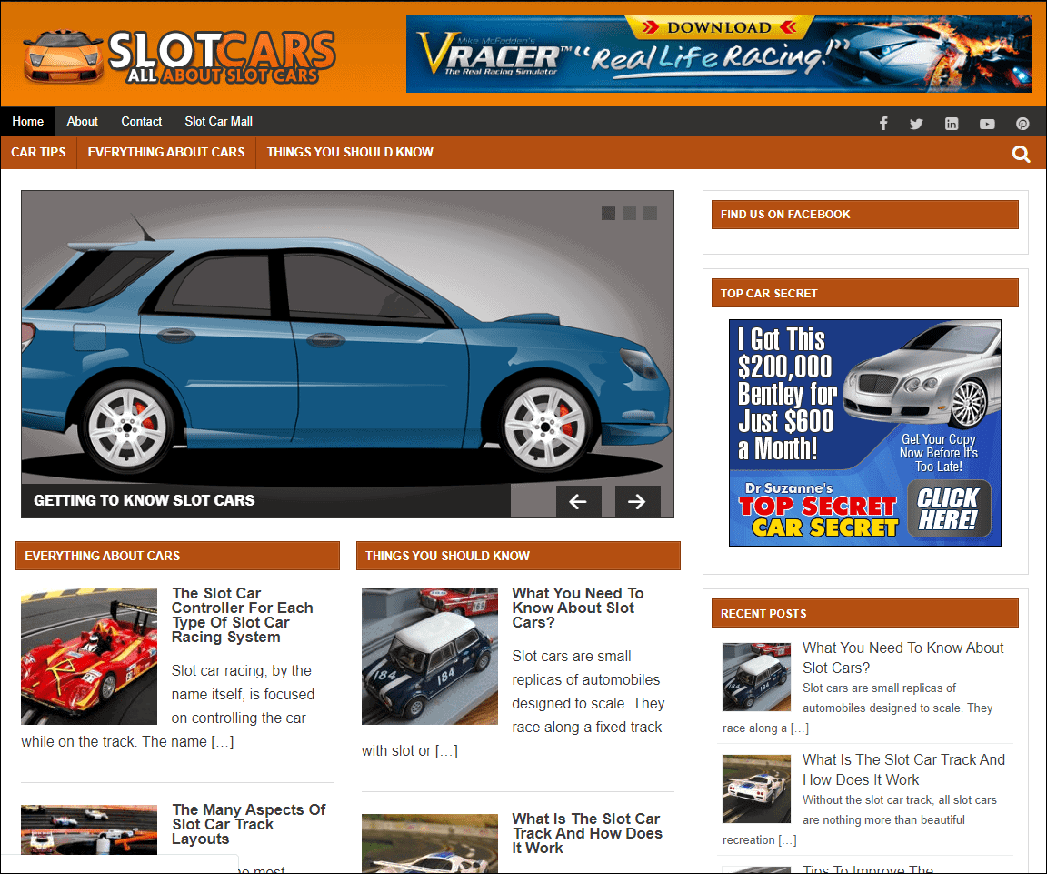 Slot Cars Wordpress PLR Niche Site
