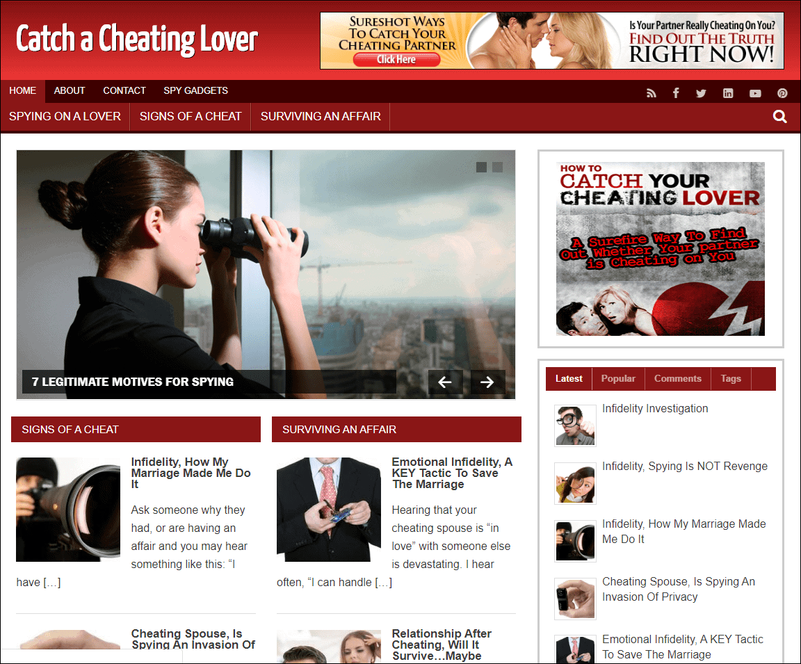 Catch A Cheating Lover PLR Niche Site