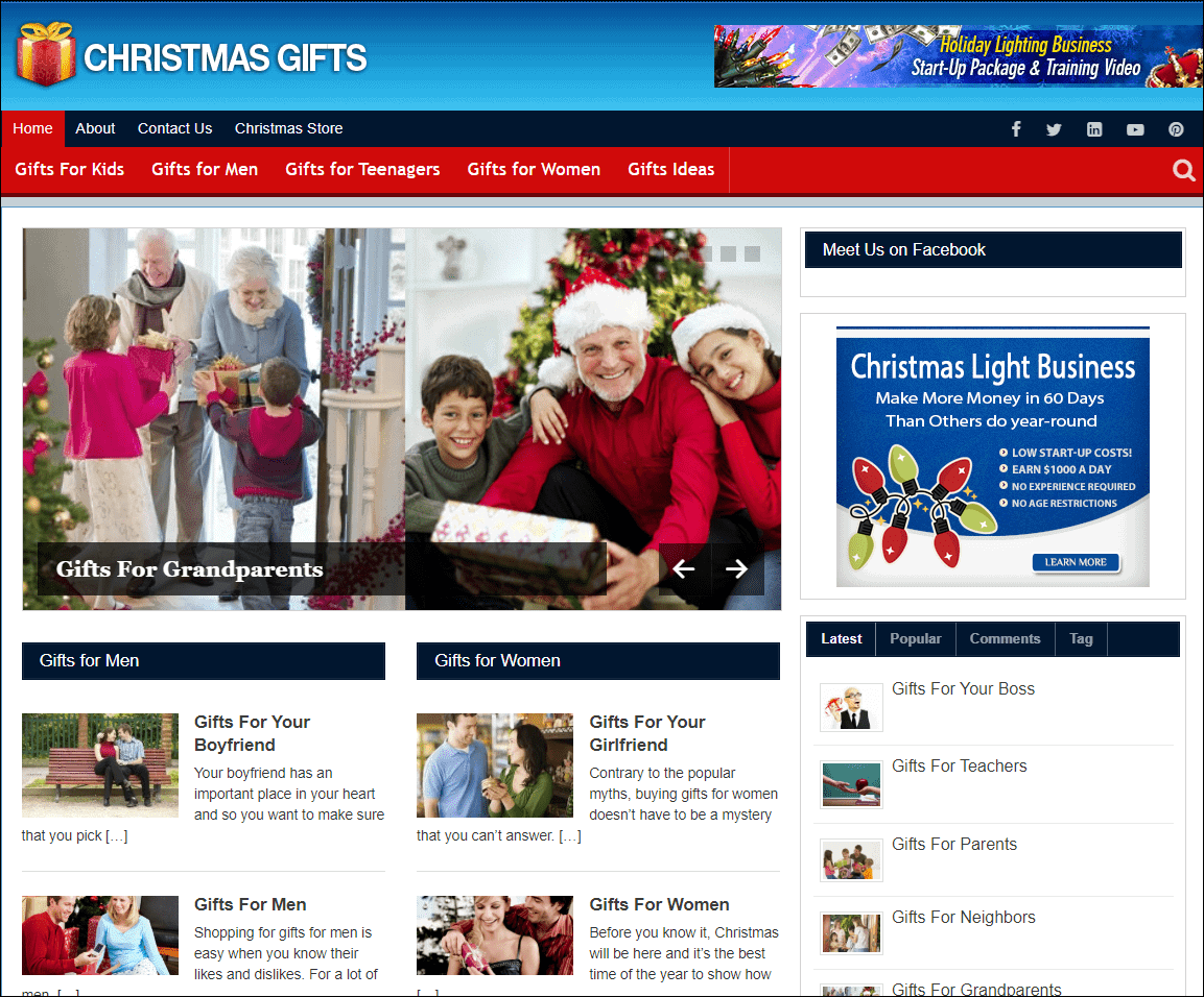 Christmas Gifts PLR Niche Site