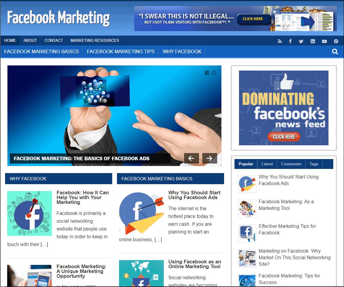 Facebook Marketing Ready Made Niche Blog