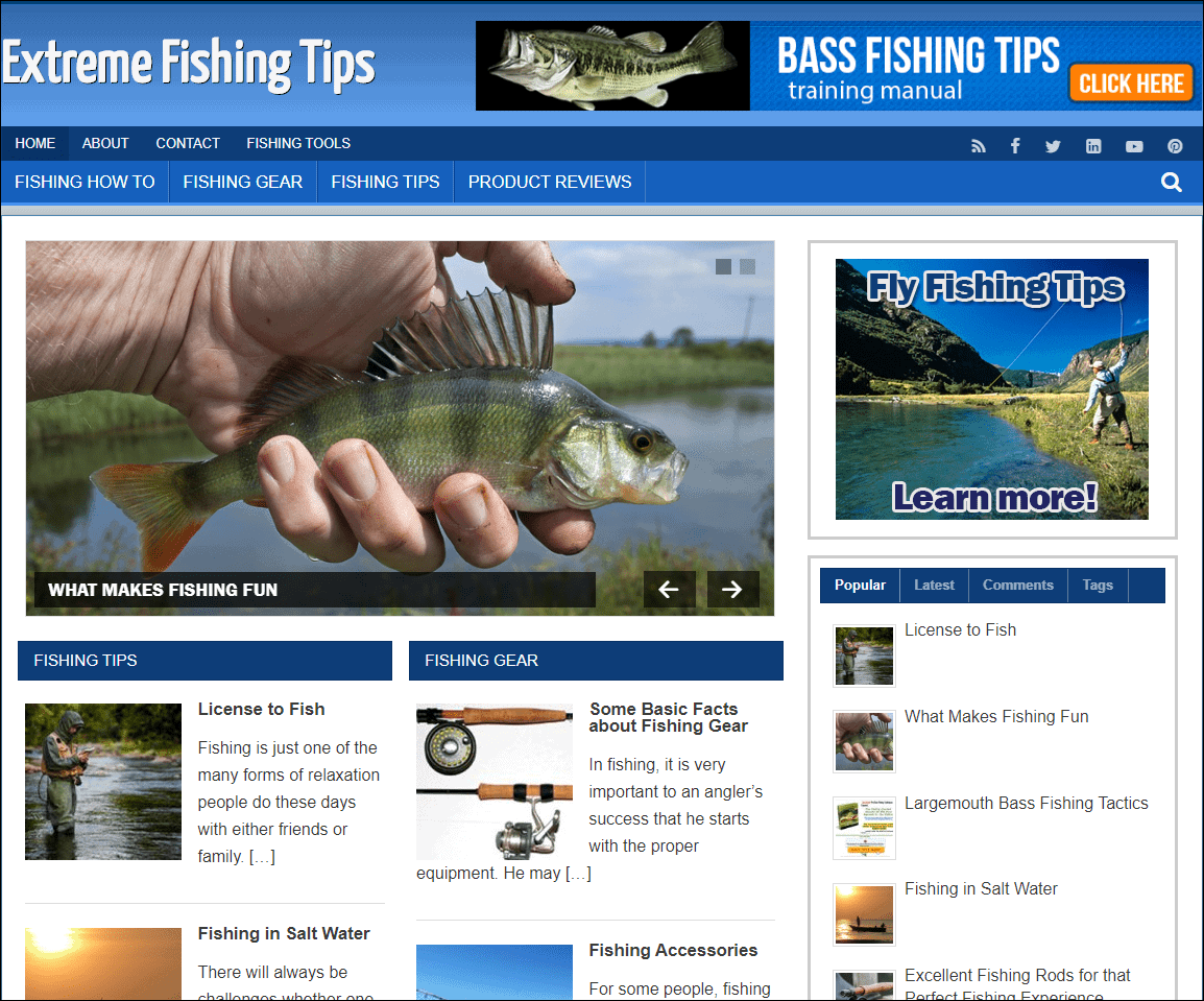 Extreme Fishing Niche WordPress Blog