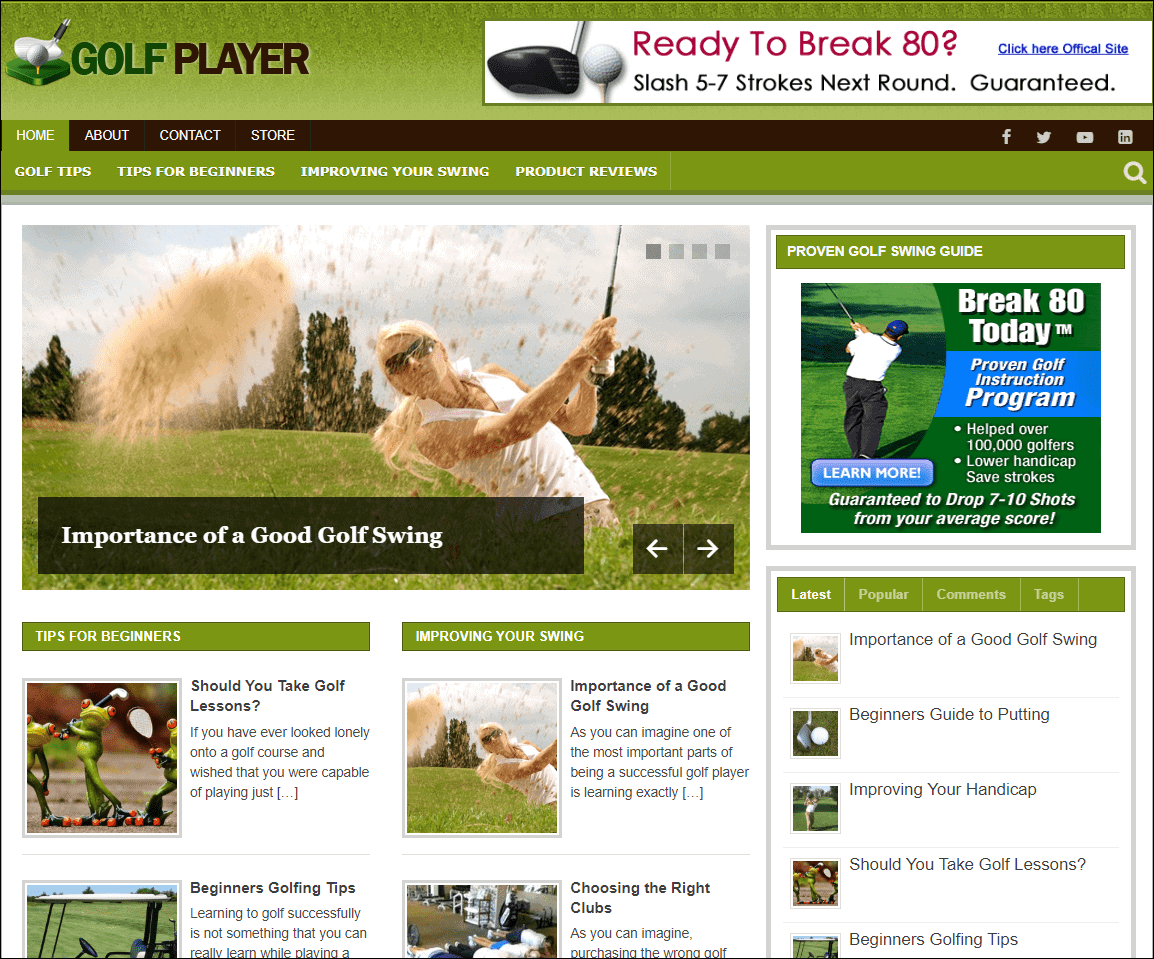 Golf Wordpress PLR Niche Blog