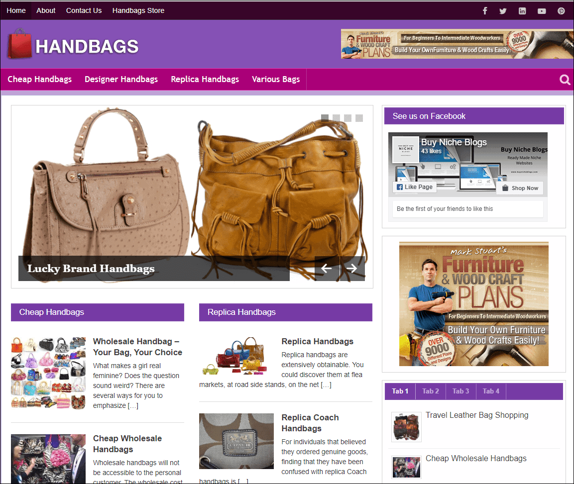 Handbags Wordpress PLR Niche Blog