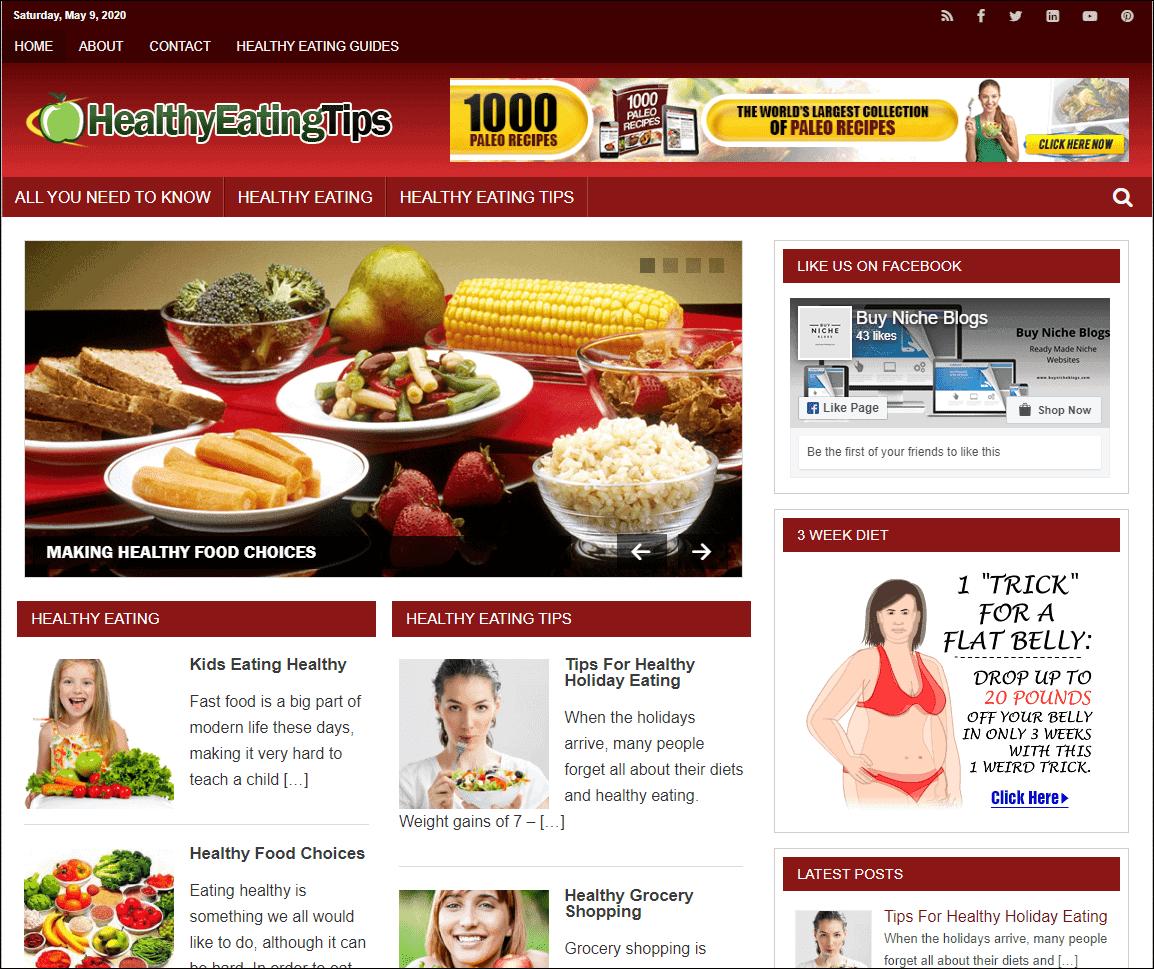 Healthy Eating Tips PLR Niche Blog