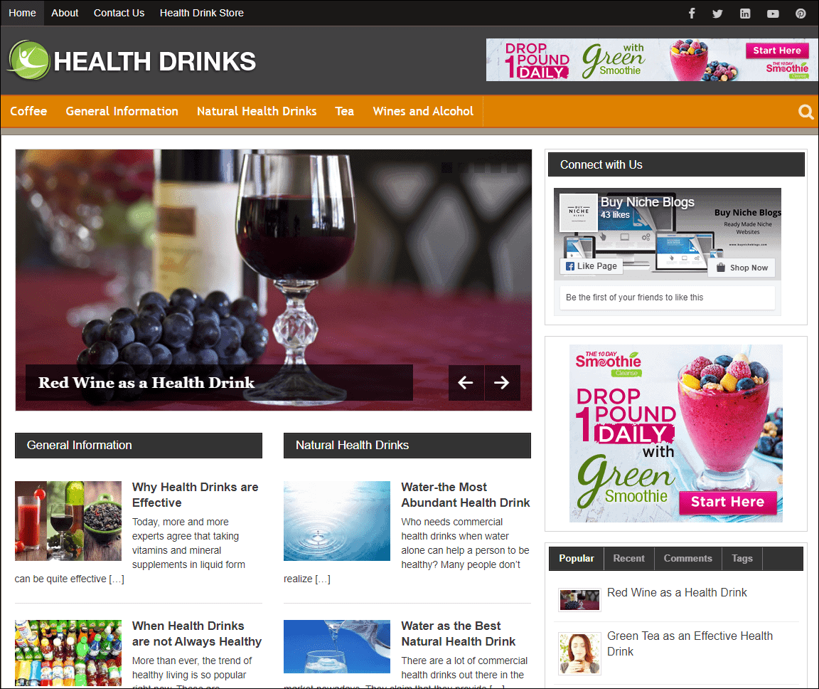 Healthy Drinks PLR Niche Blog