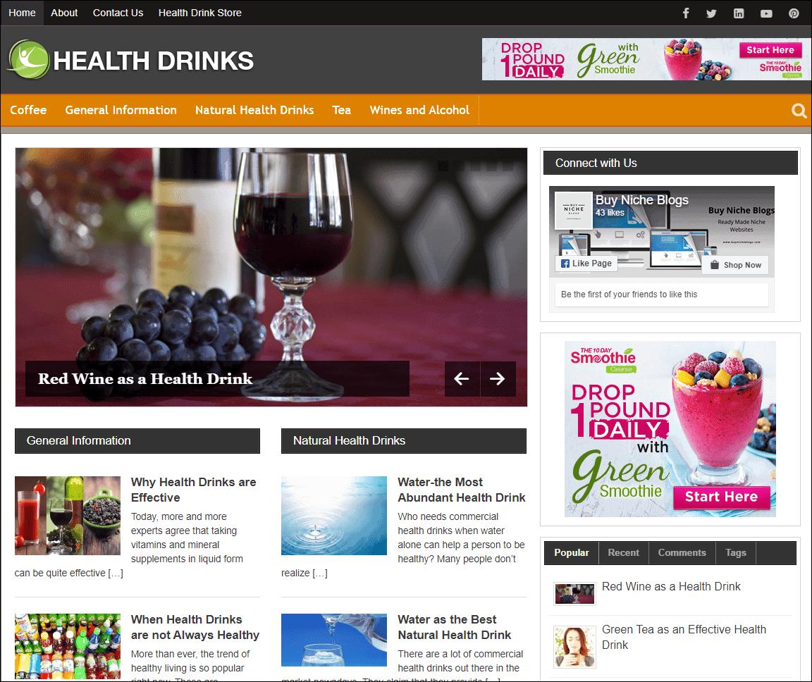 Healthy Drinks PLR Niche Blog