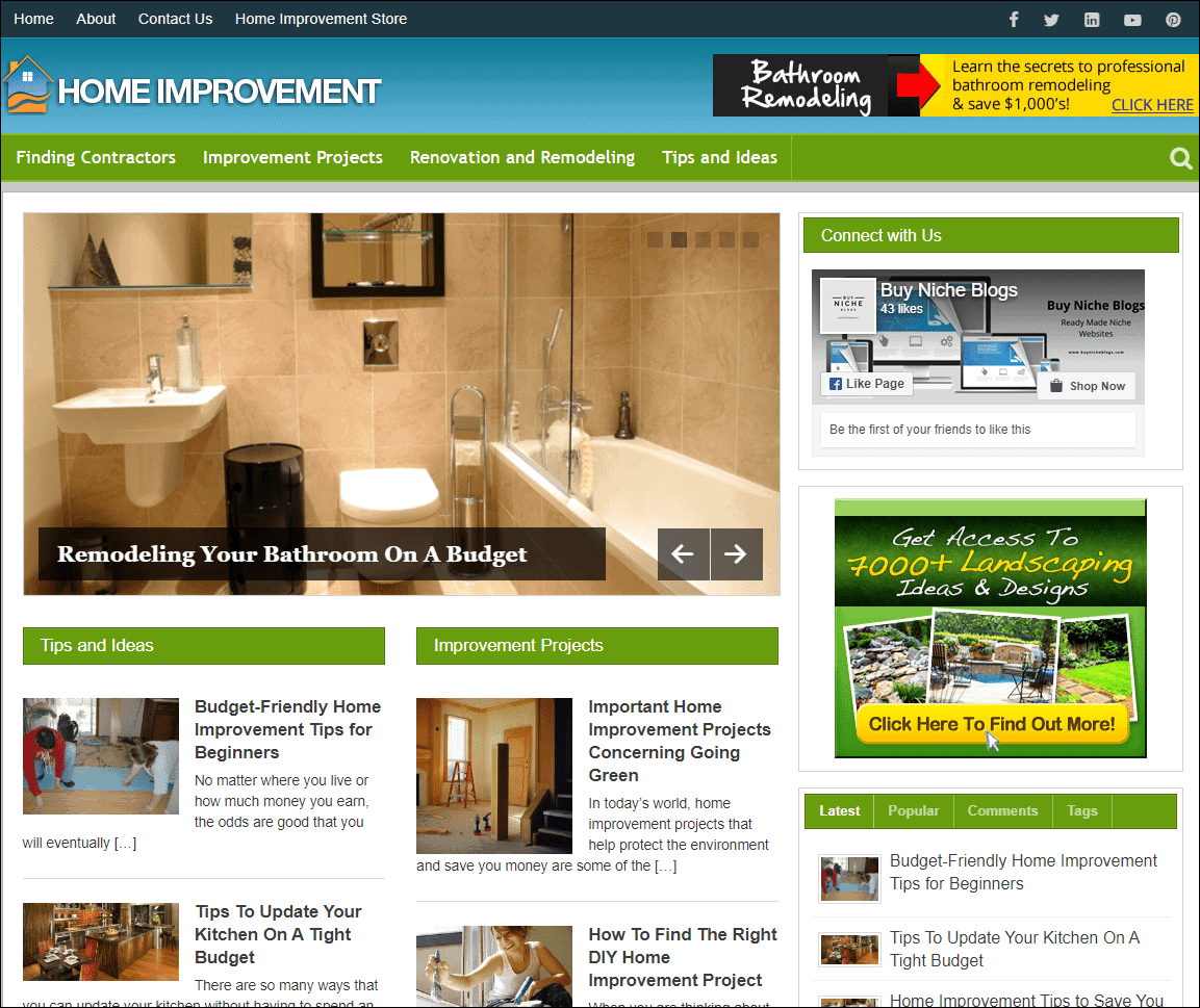 Home Improvement Turnkey Niche Website
