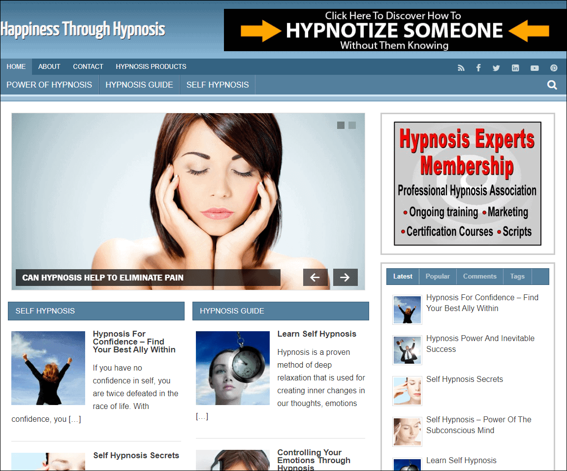 Happiness Through Hypnosis PLR Niche Blog