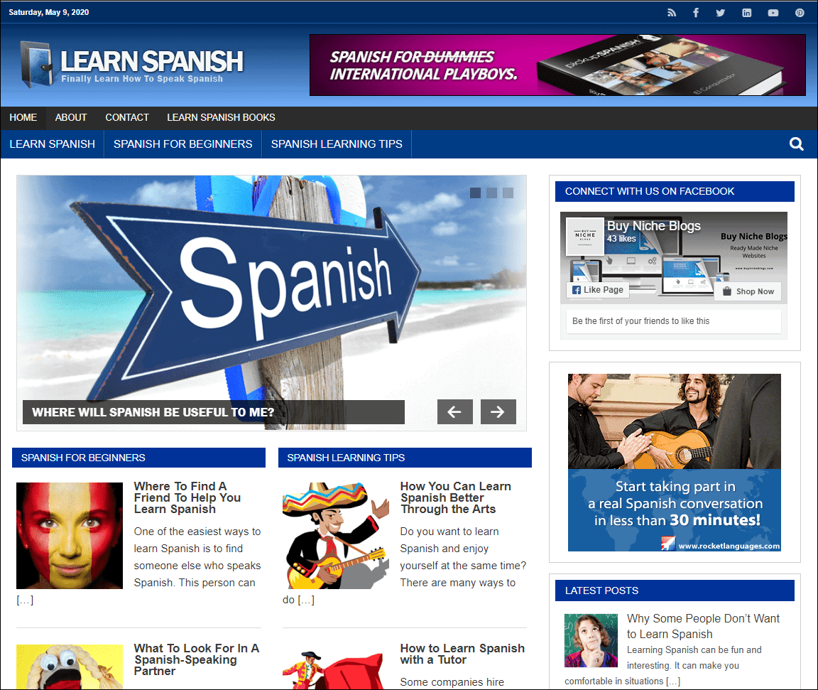 Learn Spanish PLR Niche Blog