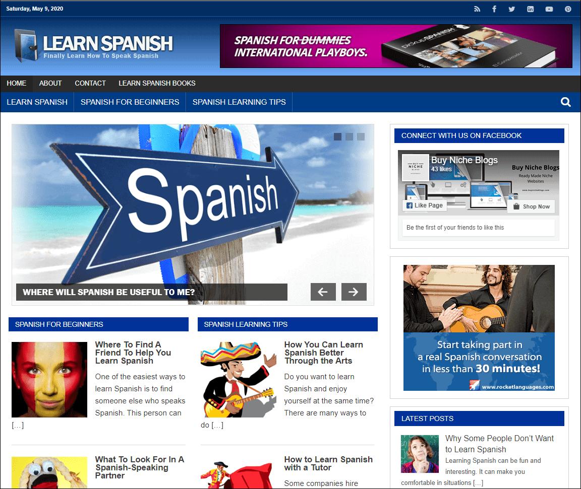 Learn Spanish PLR Niche Blog