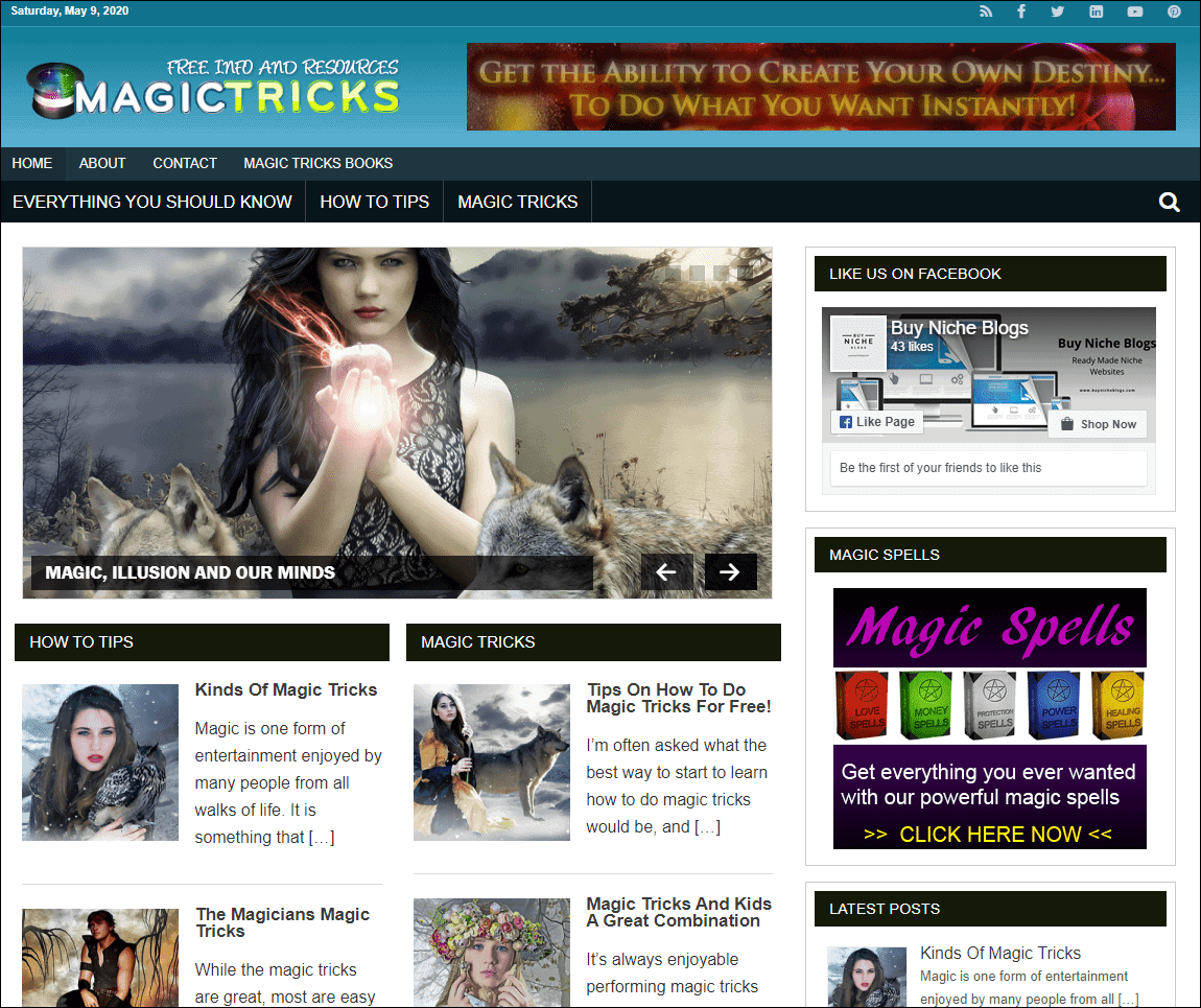 Magic Tricks Niche PLR Niche Blog
