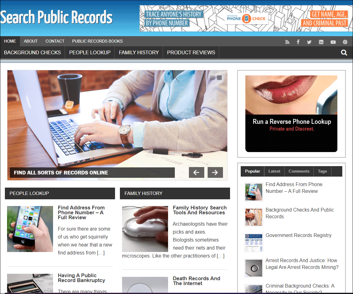 Public Records Niche Ready Made Blog