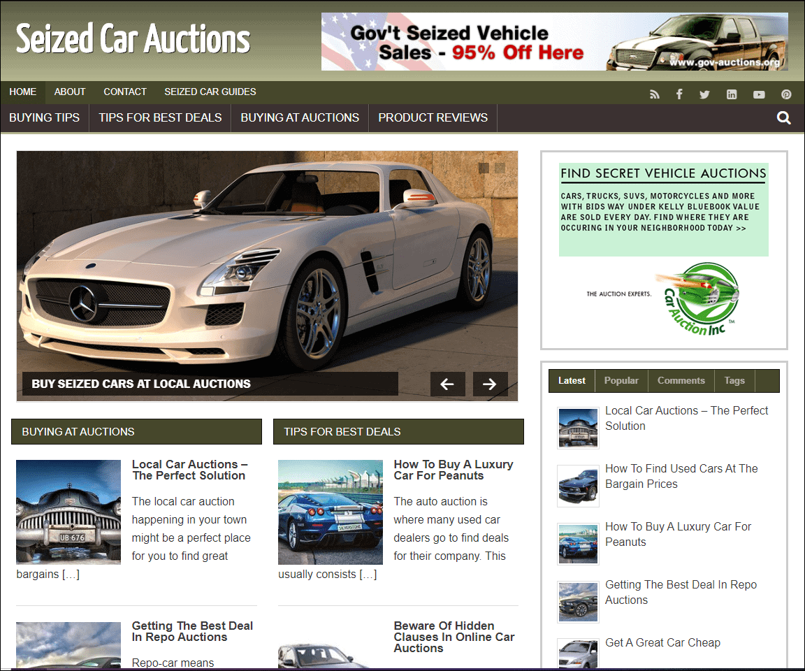 Seized Car Auctions Ready Made Niche Site