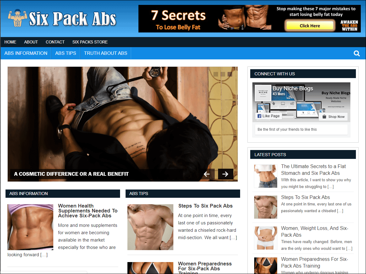 Six Pack Abs PLR Niche Blog