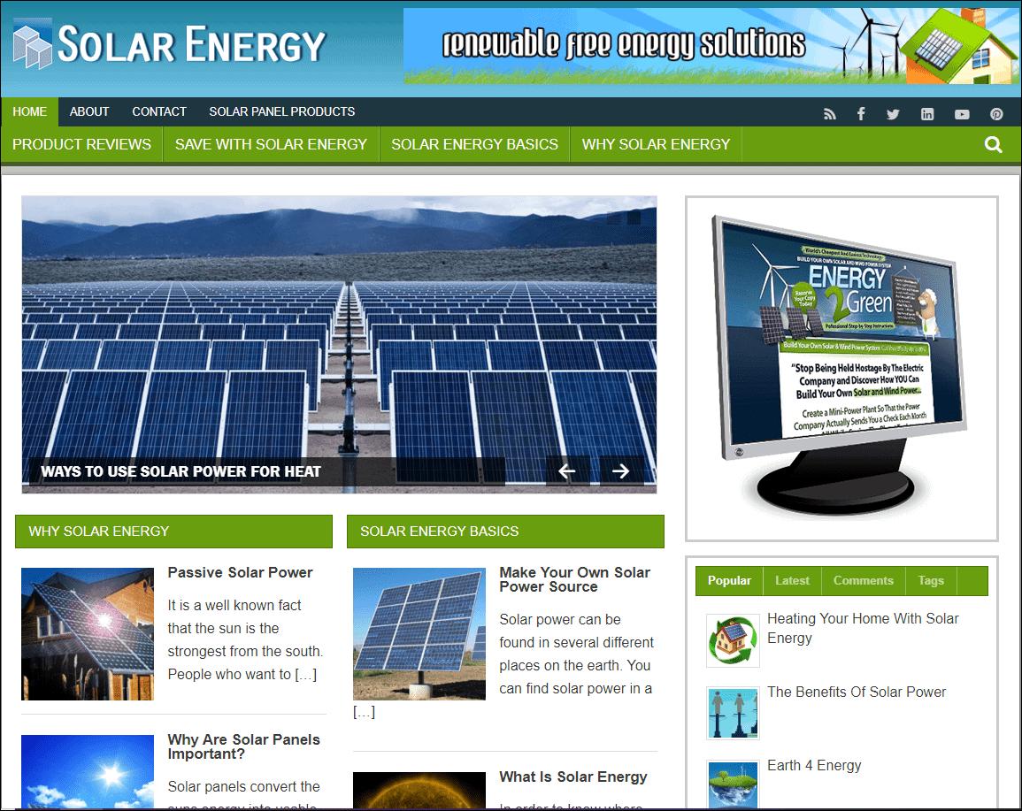 Solar Energy Turnkey Niche Blog