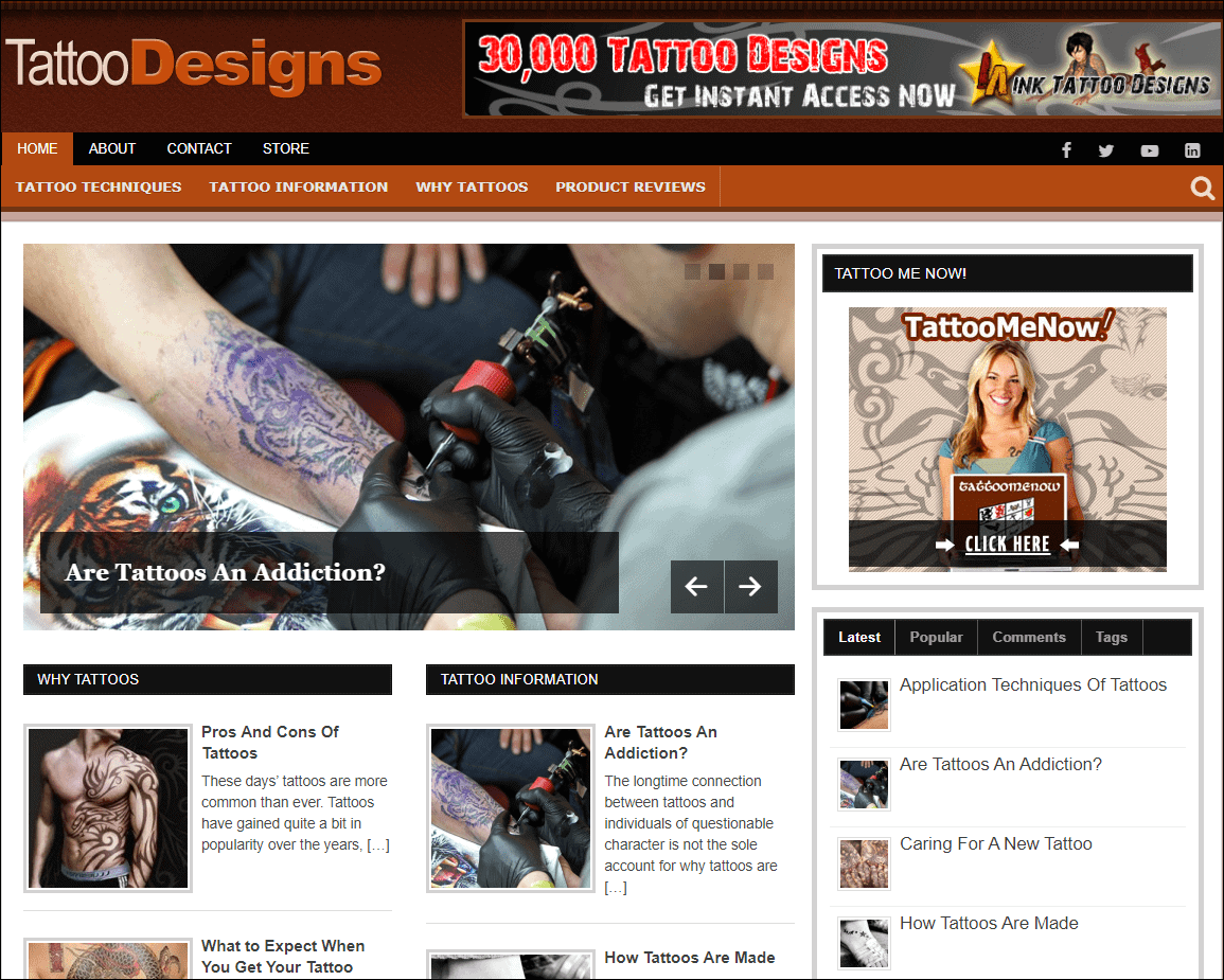 Tattoo Designs PLR Niche Blog