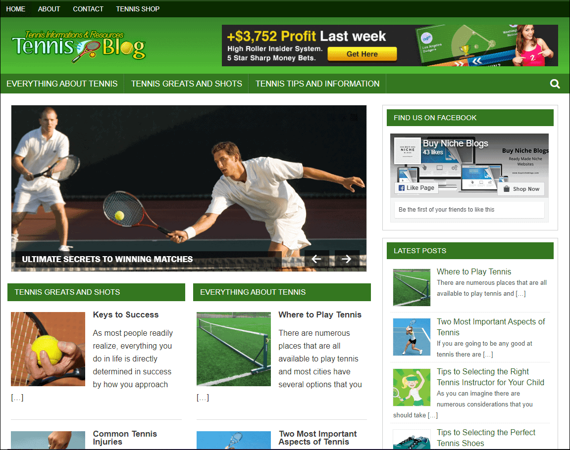 Tennis Wordpress Niche Blog
