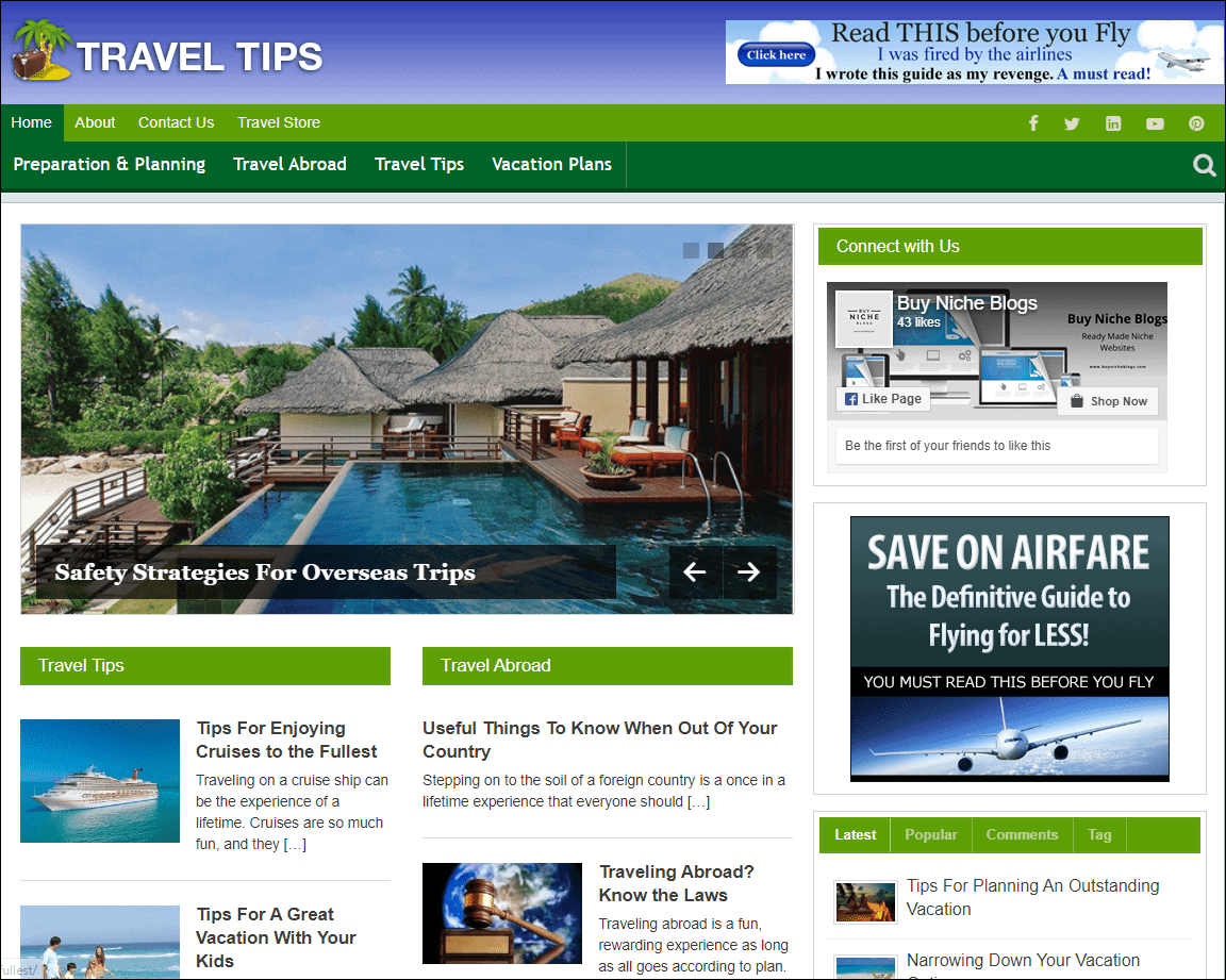 Travel Niche Website