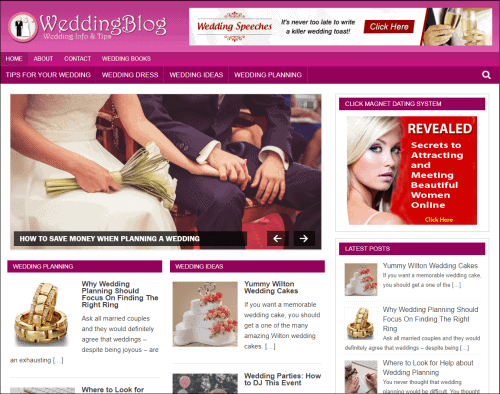Wedding Wordpress PLR Niche Blog
