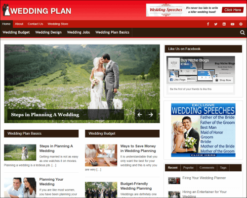 Wedding Plan Wordpress PLR Niche Blog